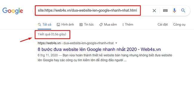 Check URL trên công cụ tìm kiếm Google